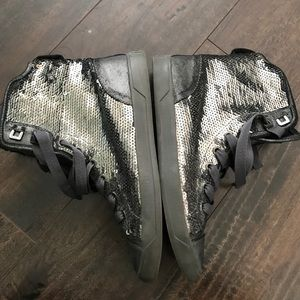 Michael Kors high-top sequined sneakers